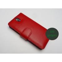Кожаный чехол портмоне (нат. кожа) для HTC Desire 700 Красный