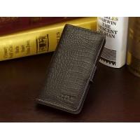 Кожаный чехол портмоне (нат. кожа крокодила) для HTC Desire 700 Коричневый