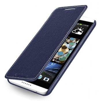Кожаный чехол книжка горизонтальная (нат. кожа) для HTC Desire 816 синяя