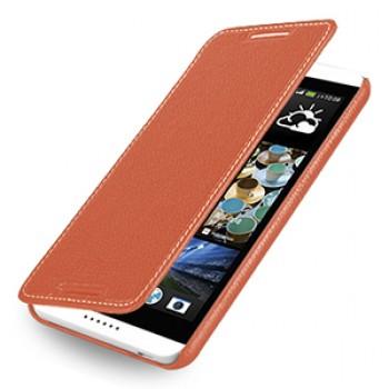 Кожаный чехол книжка горизонтальная (нат. кожа) для HTC Desire 816 оранжевая