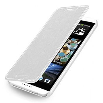 Кожаный чехол книжка горизонтальная (нат. кожа) для HTC Desire 816 белая
