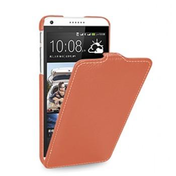 Кожаный чехол книжка вертикальная (нат. кожа) для HTC Desire 816 оранжевая
