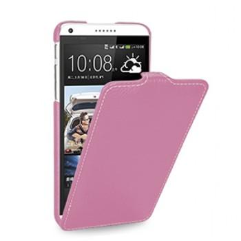 Кожаный чехол книжка вертикальная (нат. кожа) для HTC Desire 816 розовая
