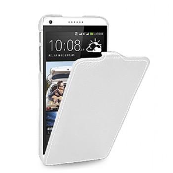 Кожаный чехол книжка вертикальная (нат. кожа) для HTC Desire 816 белая
