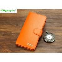 Кожаный чехол портмоне (нат. кожа) для HTC Desire 816 Оранжевый