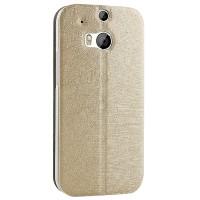 Чехол флип подставка текстурный на присоске для HTC One 2 Бежевый