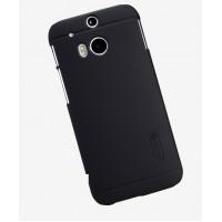 Пластиковый матовый чехол премиум для HTC One 2 Черный