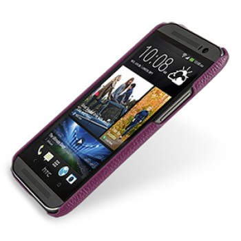 Кожаный чехол накладка серия Back Cover (нат. кожа) для HTC One 2 фиолетовая