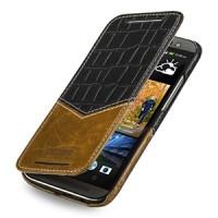 Эксклюзивный кожаный чехол ручной работы книжка горизонтальная (2 вида нат. кожи) серия V for Victory для HTC One 2 черный/коричневый
