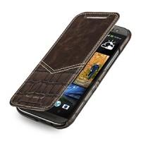 Эксклюзивный кожаный чехол ручной работы книжка горизонтальная (2 вида нат. кожи) серия V for Victory для HTC One 2 коричневый/коричневый