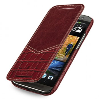 Эксклюзивный кожаный чехол ручной работы книжка горизонтальная (2 вида нат. кожи) серия V for Victory для HTC One 2 красный/красный