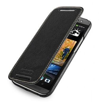 Кожаный чехол книжка горизонтальная (нат. кожа) для HTC One 2 черная
