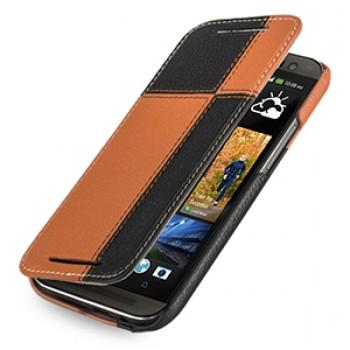 Эксклюзивный кожаный чехол ручной работы книжка горизонтальная (2 вида нат. кожи) серия Quadro для HTC One 2 черный/оранжевый