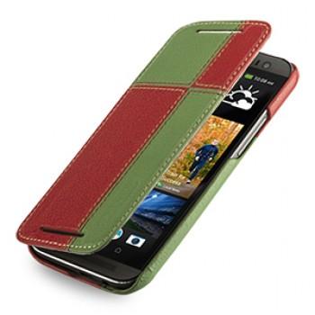 Эксклюзивный кожаный чехол ручной работы книжка горизонтальная (2 вида нат. кожи) серия Quadro для HTC One 2 зеленый/красный