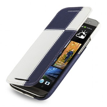 Эксклюзивный кожаный чехол ручной работы книжка горизонтальная (2 вида нат. кожи) серия Quadro для HTC One 2 синий/белый