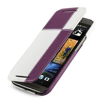 Эксклюзивный кожаный чехол ручной работы книжка горизонтальная (2 вида нат. кожи) серия Quadro для HTC One 2 фиолетовый/белый