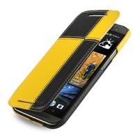 Эксклюзивный кожаный чехол ручной работы книжка горизонтальная (2 вида нат. кожи) серия Quadro для HTC One 2 черный/желтый