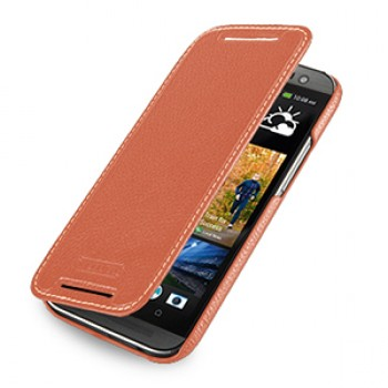 Кожаный чехол книжка горизонтальная (нат. кожа) для HTC One 2 оранжевая