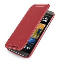 Кожаный чехол книжка горизонтальная (нат. кожа) для HTC One 2 красная