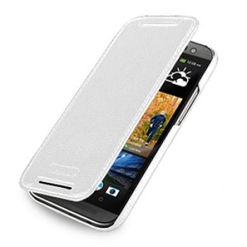 Кожаный чехол книжка горизонтальная (нат. кожа) для HTC One 2 белая