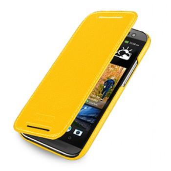 Кожаный чехол книжка горизонтальная (нат. кожа) для HTC One 2 желтая
