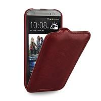 Эксклюзивный кожаный чехол книжка вертикальная (вощеная нат. кожа) для HTC One 2 красная