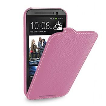 Кожаный чехол книжка вертикальная (нат. кожа) для HTC One 2 розовая