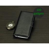 Кожаный чехол портмоне (нат. кожа) для HTC One Max Черный