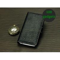 Кожаный чехол портмоне (нат. кожа крокодила) для HTC One Max Черный