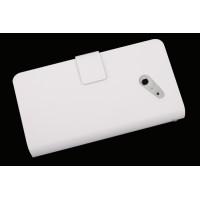 Кожаный чехол книжка горизонтальная для Huawei Ascend D2 Белый
