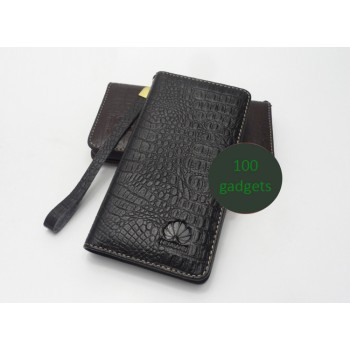 Кожаный чехол портмоне (нат. кожа крокодила) для Huawei Ascend G700