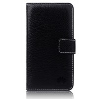 Кожаный чехол портмоне (нат. кожа) для Huawei Ascend W2 Черный