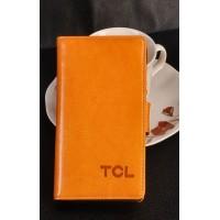 Кожаный чехол портмоне для Alcatel One Touch Idol X Оранжевый