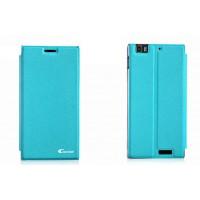 Чехол флип подставка клеевой серия Suction Power для Lenovo IdeaPhone K900 Голубой