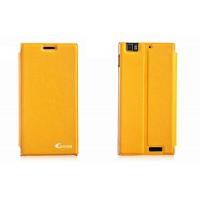 Чехол флип подставка клеевой серия Suction Power для Lenovo IdeaPhone K900 Желтый