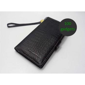 Кожаный чехол портмоне (нат. кожа крокодила) для Lenovo IdeaPhone K900