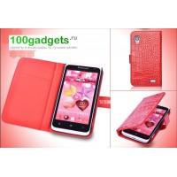 Кожаный чехол портмоне серия Nature Call для Lenovo IdeaPhone S720 Красный