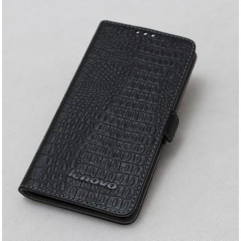 Кожаный чехол горизонтальная книжка (нат. кожа крокодила) с крепежной застежкой для Lenovo S860