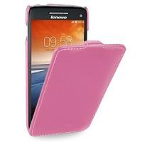 Кожаный чехол книжка вертикальная (нат. кожа) для Lenovo Vibe X S960 розовая