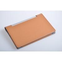 Чехол подставка с рамочной защитой экрана текстура Кожа для Lenovo Yoga Tablet 10 Коричневый