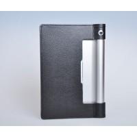 Чехол подставка с рамочной защитой экрана текстура Кожа для Lenovo Yoga Tablet 10 Черный