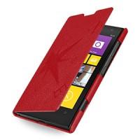 Кожаный чехол книжка горизонтальная (нат. кожа) серия Compass для Nokia Lumia 1020 Красный