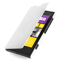 Кожаный чехол книжка горизонтальная (нат. кожа) серия Compass для Nokia Lumia 1020 Белый