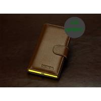 Кожаный чехол портмоне (нат. кожа) для Nokia Lumia 1020 Коричневый