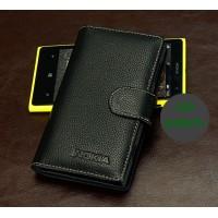 Кожаный чехол портмоне (нат. кожа) для Nokia Lumia 1020 Черный