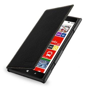 Кожаный чехол книжка горизонтальная (нат. кожа) для Nokia Lumia 1520 черная