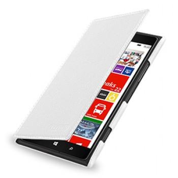 Кожаный чехол книжка горизонтальная (нат. кожа) для Nokia Lumia 1520 белая