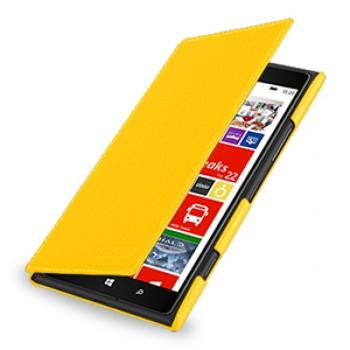 Кожаный чехол книжка горизонтальная (нат. кожа) для Nokia Lumia 1520 желтая