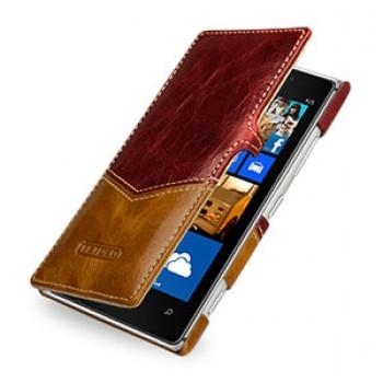 Кожаный эксклюзивный чехол ручной работы горизонтальный для Nokia Lumia 925