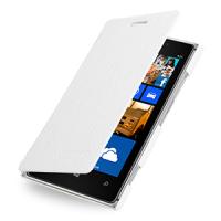 Кожаный чехол горизонтальная книжка (нат. кожа) для Nokia Lumia 925 Белый